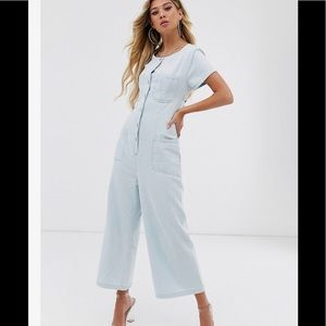 ASOS DESIGN Button Down Jumpsuit with Open Back
